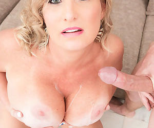 Chubby mature lady Candace Harley deepthroats her lovers large cock