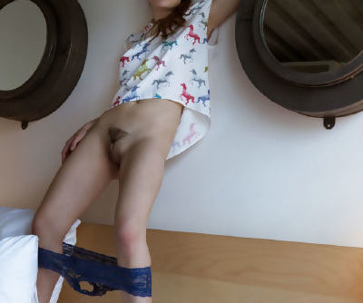 Teen girl Maxima slips off jean shorts & lace undies to display her tight twat