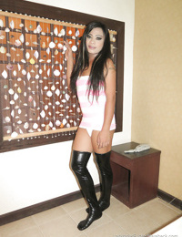 Beautiful young ladyboy Fern leaves boots on while asshole is barebacked