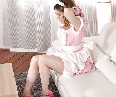 European maid Samantha Bentley parting trimmed cunt after panty removal