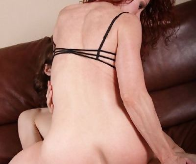 Slutty redhead mom gets her shaved cunt fingered and boned-up