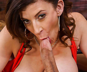 Big-tit brunette mom Sara Jay is sucking and swallowing cumshot