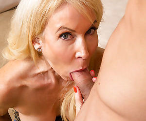 Lustful blonde cougar gives head and gets fucked for cum on her smiley face