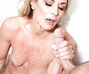 Over 40 blonde mom taking cumshot on face after hardcore fuck session