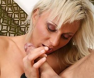 Sexy mature blonde mom Susan loves getting cum in her playful mouth