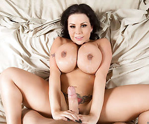 Fat brunette MILF Sheridan Love takes cumshot on huge tits and pierced nips