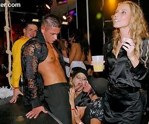 Milfs enjoying dicks at the club in extra hot orgy moments while drunk