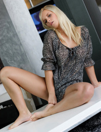 Pouty blonde chick Miela A unveiling ripe young girl breasts