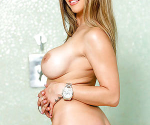 Big boobed blonde mom Rachel RoXXX playing with large tits and nipples
