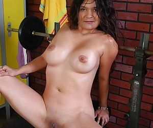 Mature Latina Sophia flashing her huge hooters and masturbating shaved cunt