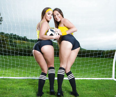 European soccer players Amirah Adara and Mea Melone bare big butts outside
