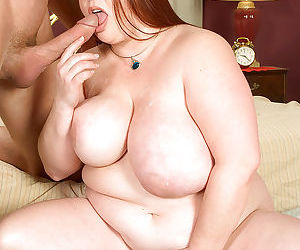 SSBBW mom Madi Jane freeing massive breasts while giving big cock blowjob