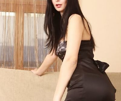 Brunette Hanna Black doffs black dress & stretches pussy wearing stockings