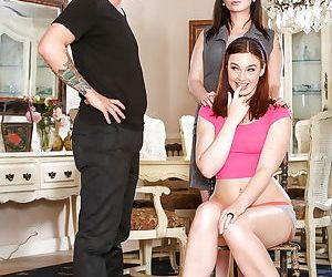 Naughty moms in high heels undress for threesome with cumshot finale