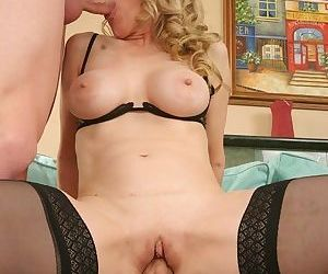 Lewd mature slut has some double penetration fun with two young dicks