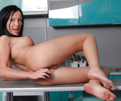 Brunette Asya shows off pussy and ass in solo kitchen masturbation XXX show