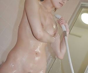 Svelte asian MILF with nice titties Kaoru Fujitani taking shower