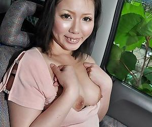 Asian lady Aya Uchiyama gets involved into sex toys play in the car