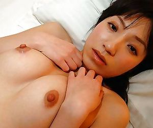 Shy asian cutie Aki Ootsuka undressing and demonstrating her cunt in close up
