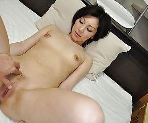 Cuddly asian MILF Mayumi Iihara has some pussy fingering fun after bath