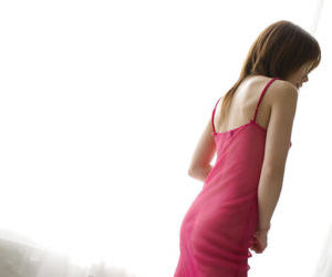 Fuckable asian teen babe Reika Shina slipping off her nightgown