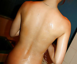 Stunning asian babe taking shower and gets her bush drilled hardcore