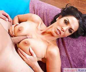 Busty Latina mom Veronica Rayne having large knockers played with by stud