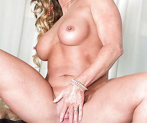 Mature blonde siren with big juicy boobs engulfs and rides a dick and eats cum