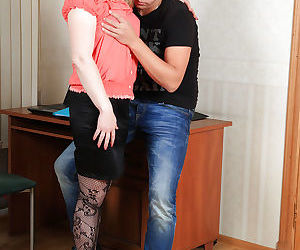 Lecherous blonde mom in lacy stockings gets her hairy gash drilled tough