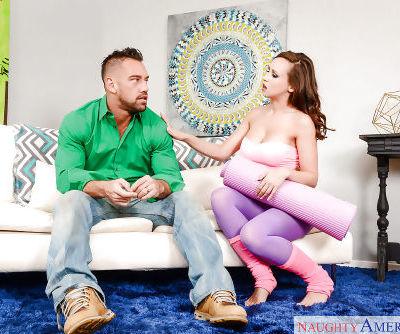 Leggy wife Anastasia Hart giving blowjob in yoga pants and leg warmers