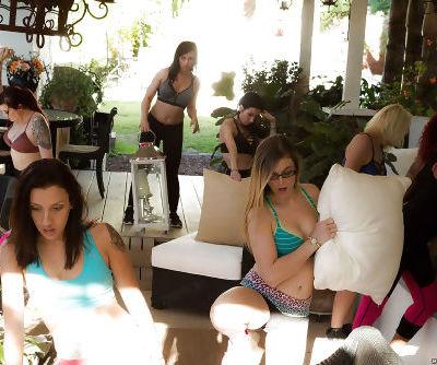 Naughty Latina mothers share huge cock during reverse gangbang