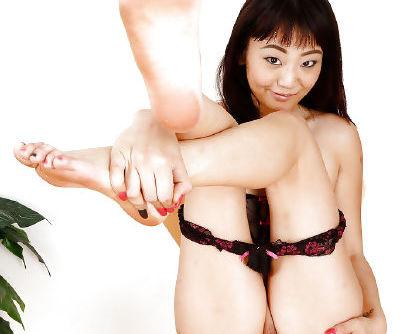 Petite Asian amateur Miko Dai parting her labia lips for clit rubbing
