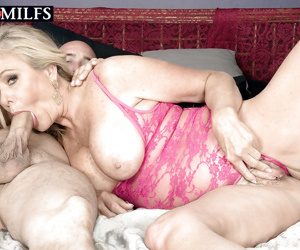 Busty aged blonde Lauren Taylor giving ball licking BJ before cumshot in mouth