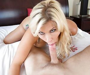 Amazing cougar mom Savana Styles intense POV blowjob with the son
