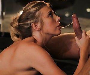 Slutty Samantha Saint gives a good blowjob because she craves sperm