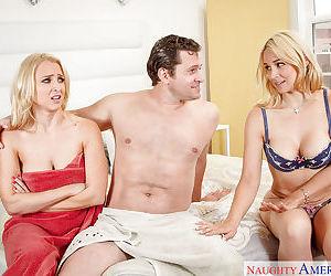 Busty blonde moms Alix Lynx and Sarah Vandella suck fat cock in 3some