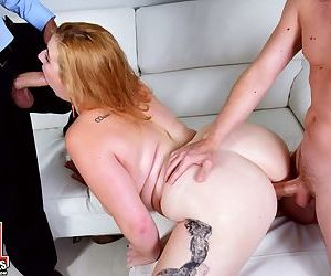 Fatty Mya Blair with giant tits getting into threesome for the first time