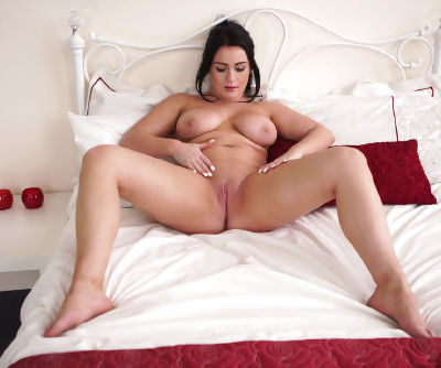 Brunette first timer reveals her big boobs prior to fingering her naked pussy