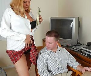 BBW Alexys flashes co-worker her panties and tit fucks his dick in office