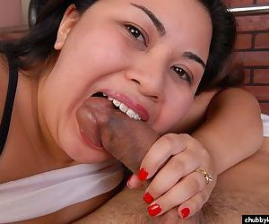 Chubby chick Tyung has her fat cunt fucked and takes cumshot on boobs