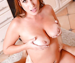 Chunky mommy Skyler using her large boobs to tit fuck long penis