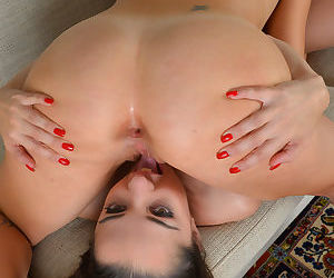 Lesbian moms Nikki Next and Miss MelRose eat pussy in 69 position on couch