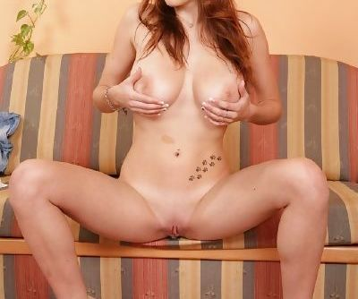 Slender redhead coed Samanta exposes her naked body to get money for tuition