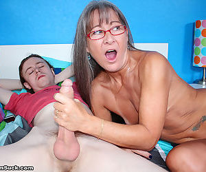 Mature lady with grey hair sucks off her stepsons big penis