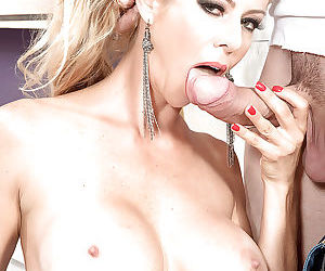 Busty older blond Alexis Fawx giving big dick blowjob on knees in stockings