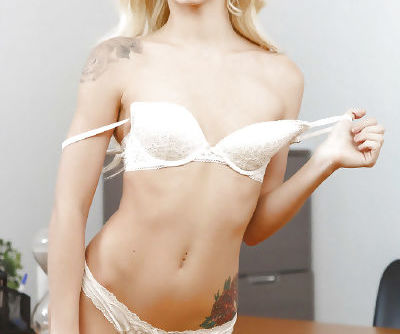 Slim blone with tiny tits Elsa Jean naughty solo experience at the office