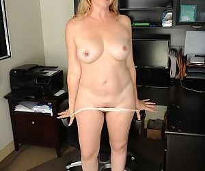 Over 40 mom Sable Knight undressing for masturbation of bald pussy