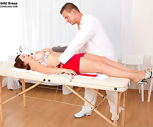 Big boobed MILF Vicky Soleil gives her horny doctor a nice blowjob