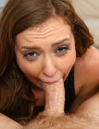 Brunette slut Maddy OReilly fills her mouth with jizz while pleasing a cock