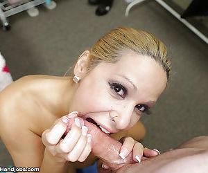 Busty blonde mom Alyssa Lynn jerking big cock before giving head